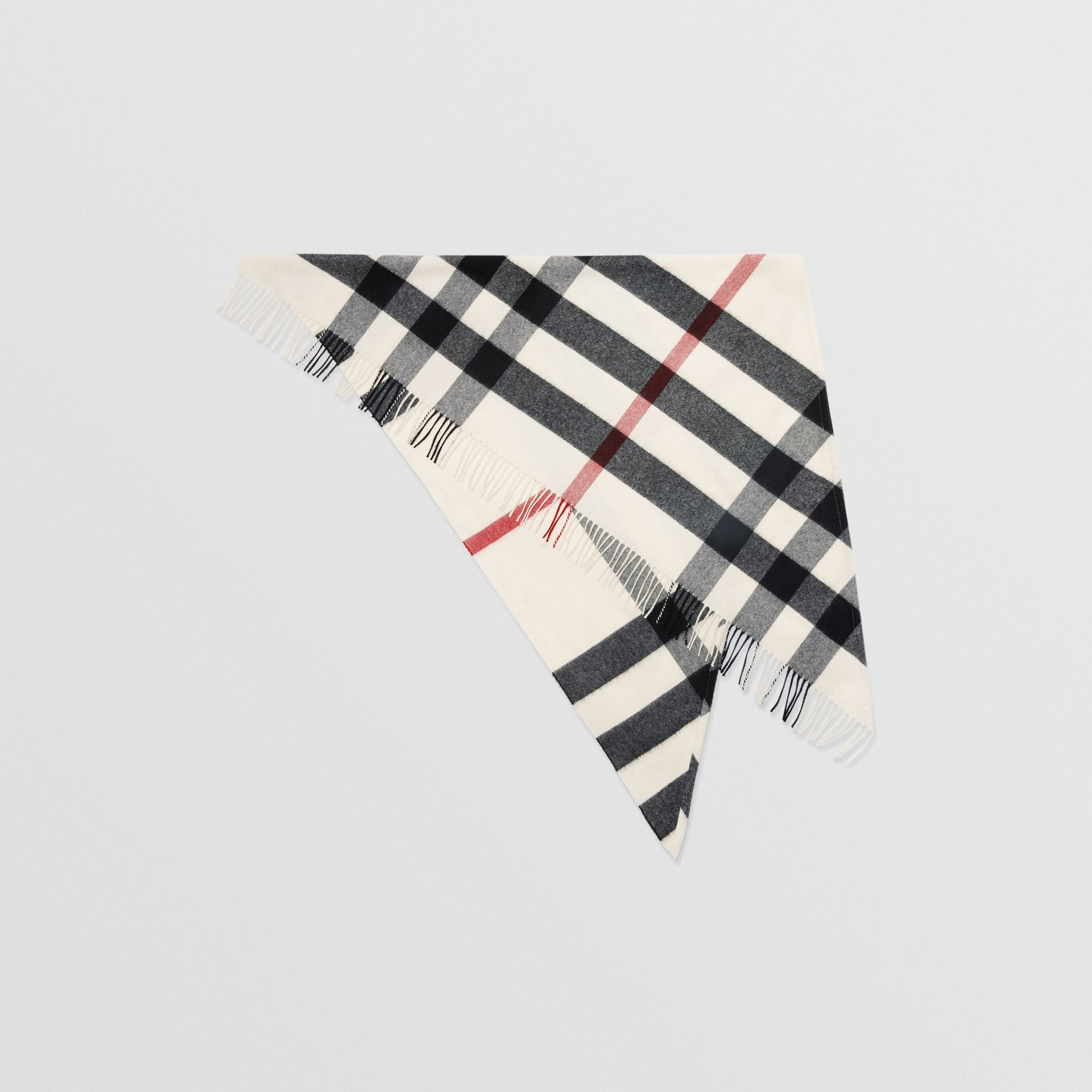 The Burberry Bandana in Check Cashmere in Natural White | Burberry Hong Kong S.A.R - gallery image 0
