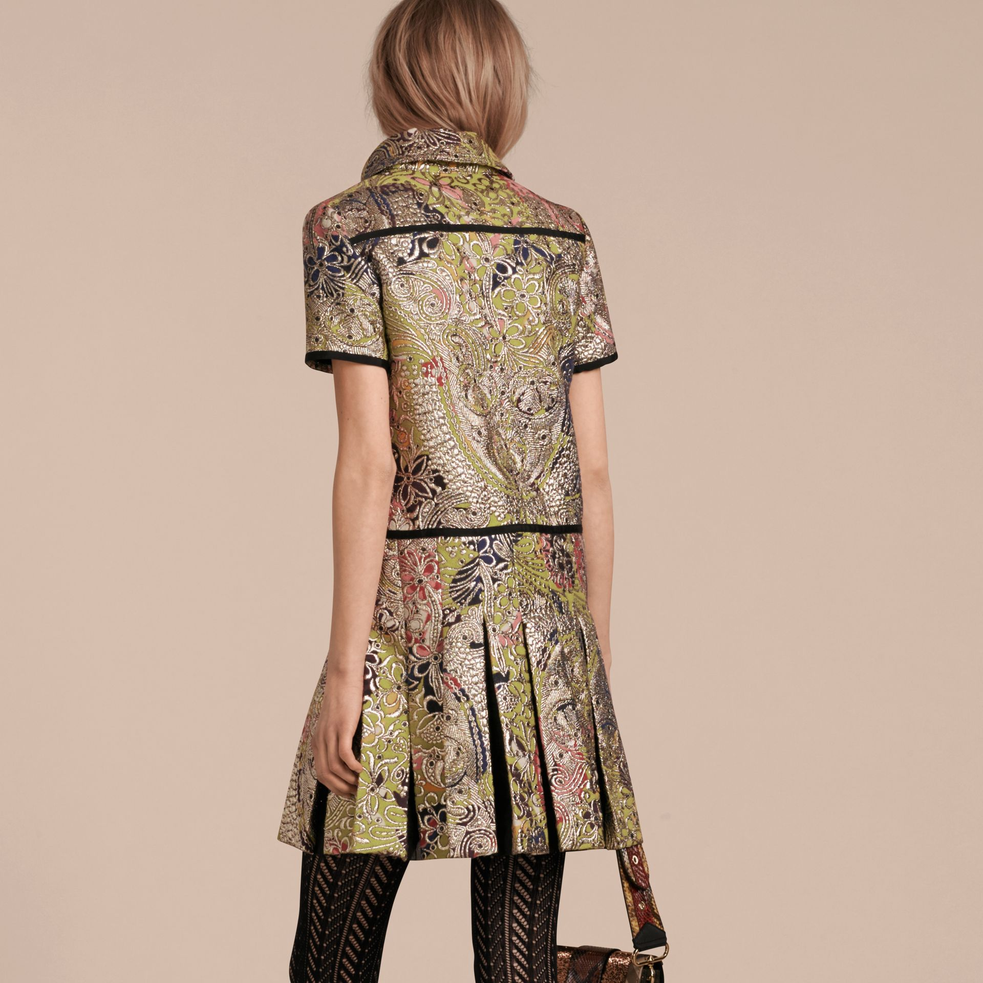 Green oxide Metallic Floral Jacquard Shirt Dress - gallery image 3