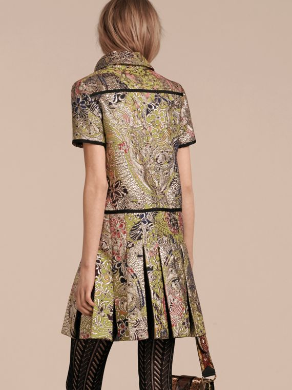 Green oxide Metallic Floral Jacquard Shirt Dress - cell image 2