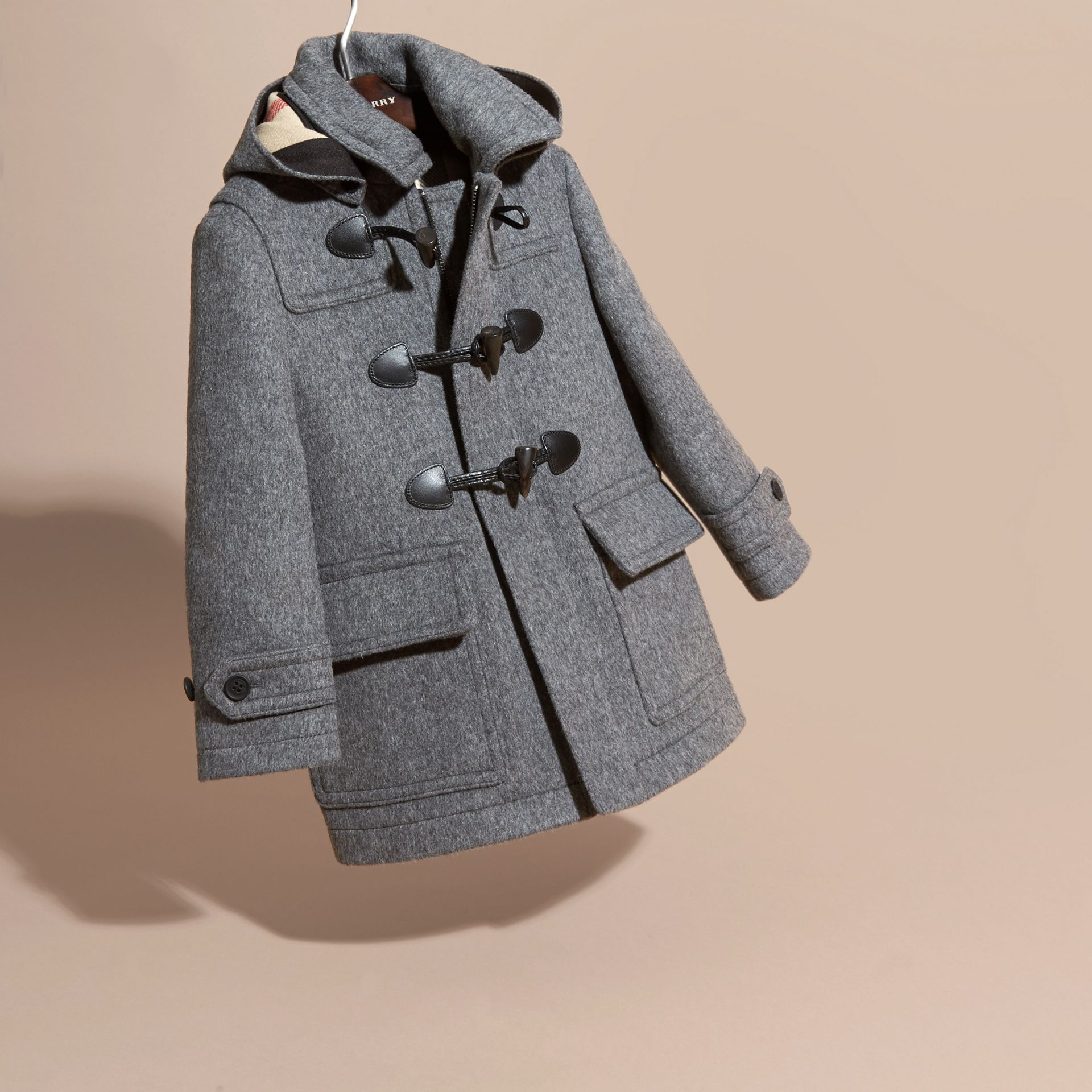 Mid grey melange Wool Duffle Coat with Check-lined Hood Mid Grey Melange - gallery image 3