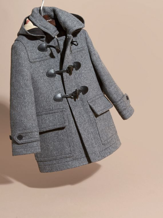 Wool Duffle Coat with Check-lined Hood in Mid Grey Melange - Girl | Burberry United States - cell image 2