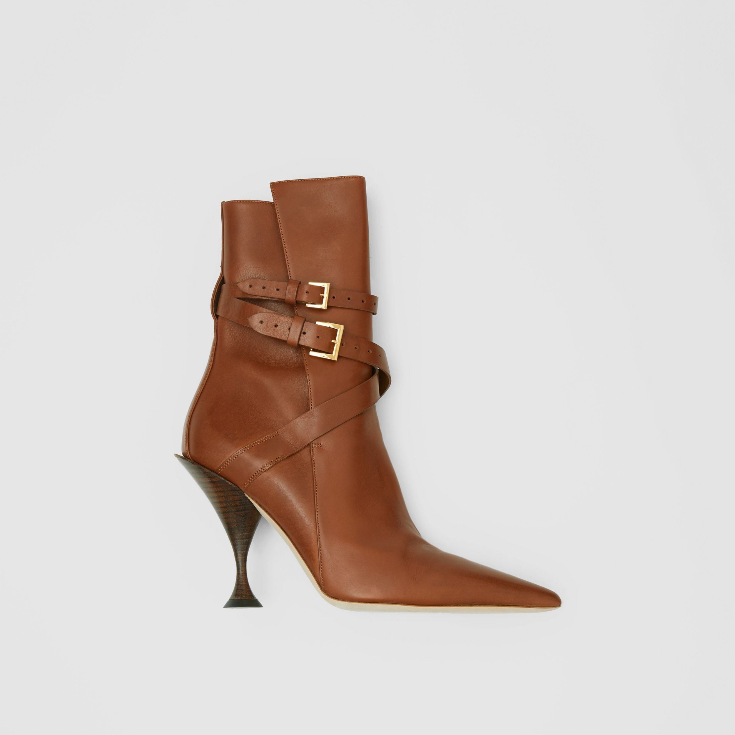 Strap Detail Leather Ankle Boots in Tan - Women | Burberry - 1