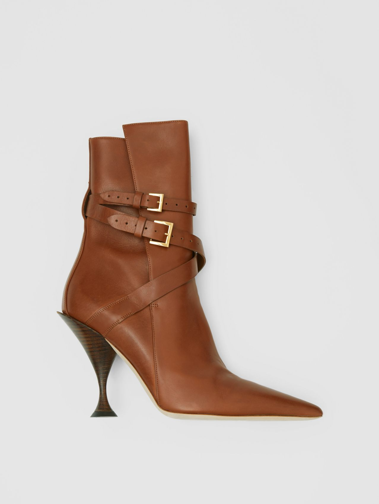 Strap Detail Leather Ankle Boots (Tan)