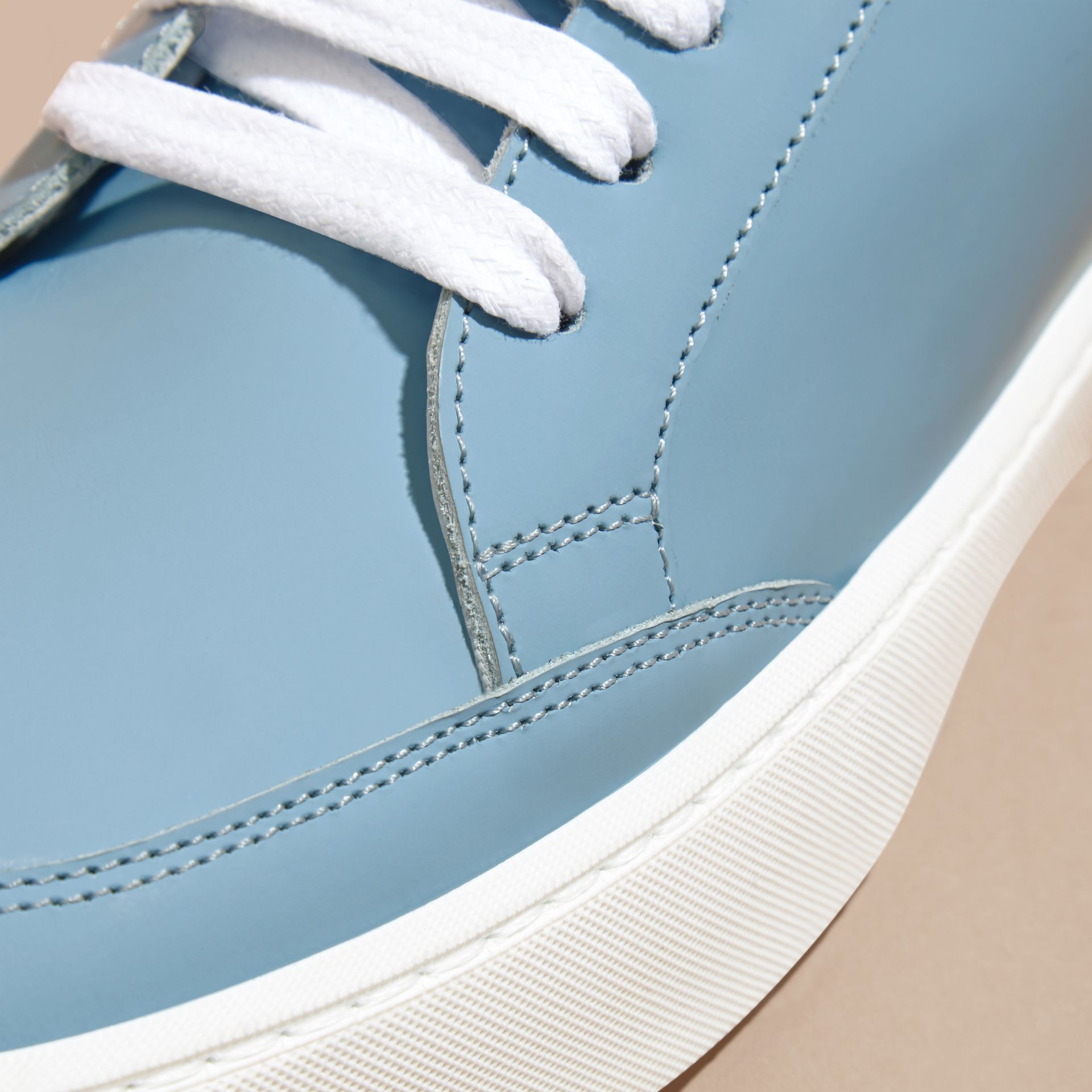 Metallic Detail Leather Trainers Powder Blue - gallery image 2