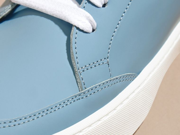 Metallic Detail Leather Trainers in Powder Blue - cell image 1