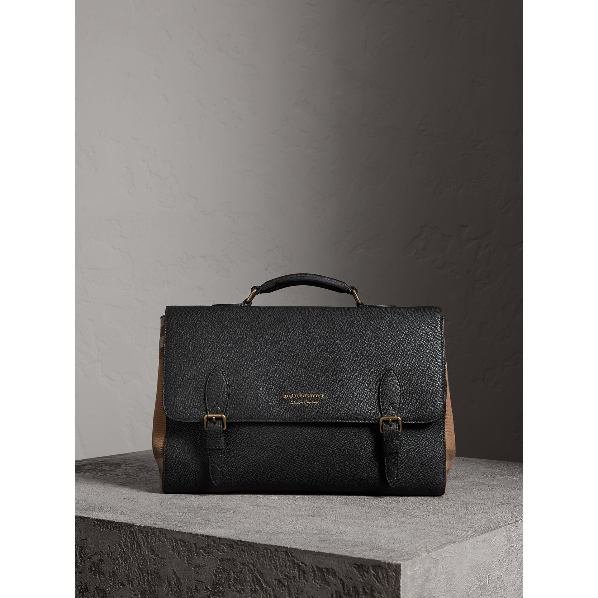 Leather and House Check Satchel in Black - Men | Burberry - gallery image 0