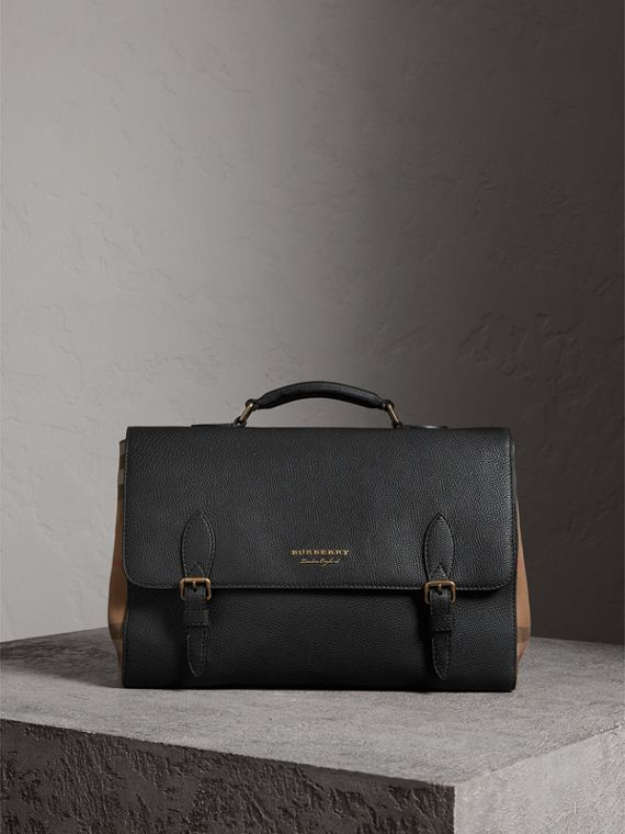 Leather and House Check Satchel in Black