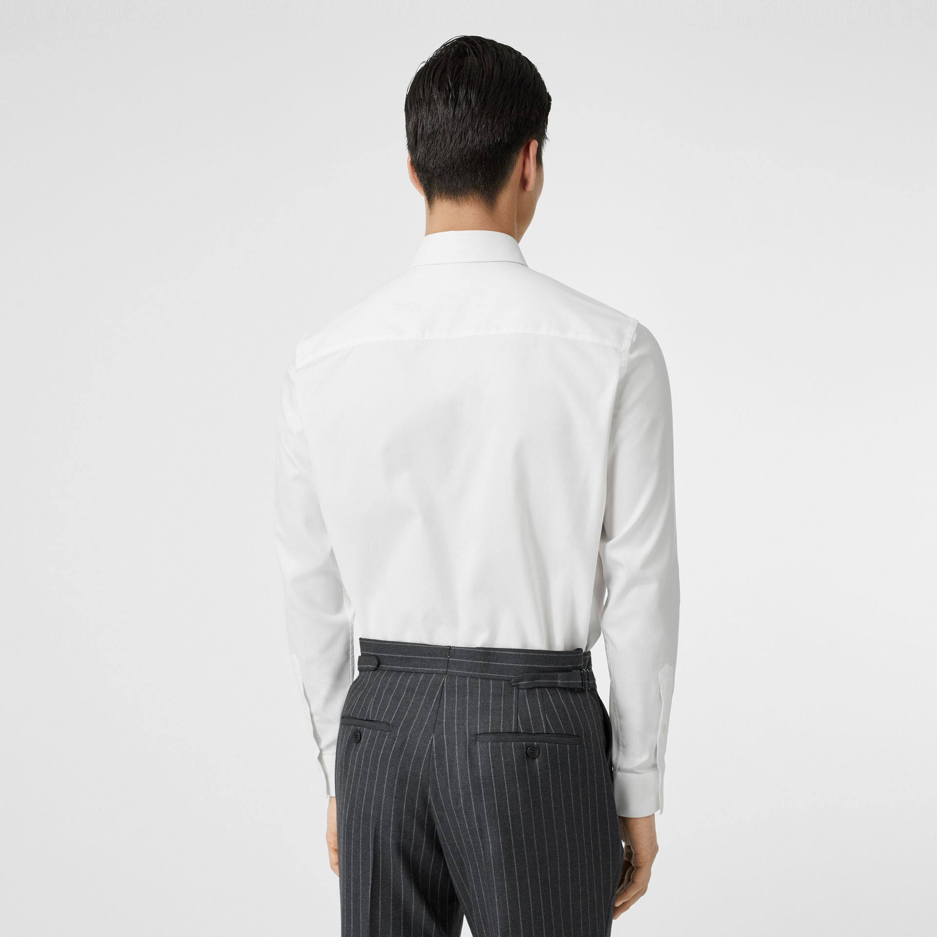Classic Fit Monogram Motif Cotton Oxford Shirt in White - Men | Burberry - gallery image 2
