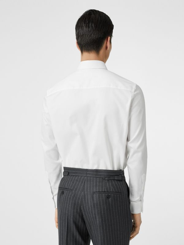 Classic Fit Monogram Motif Cotton Oxford Shirt in White - Men | Burberry Singapore - cell image 2