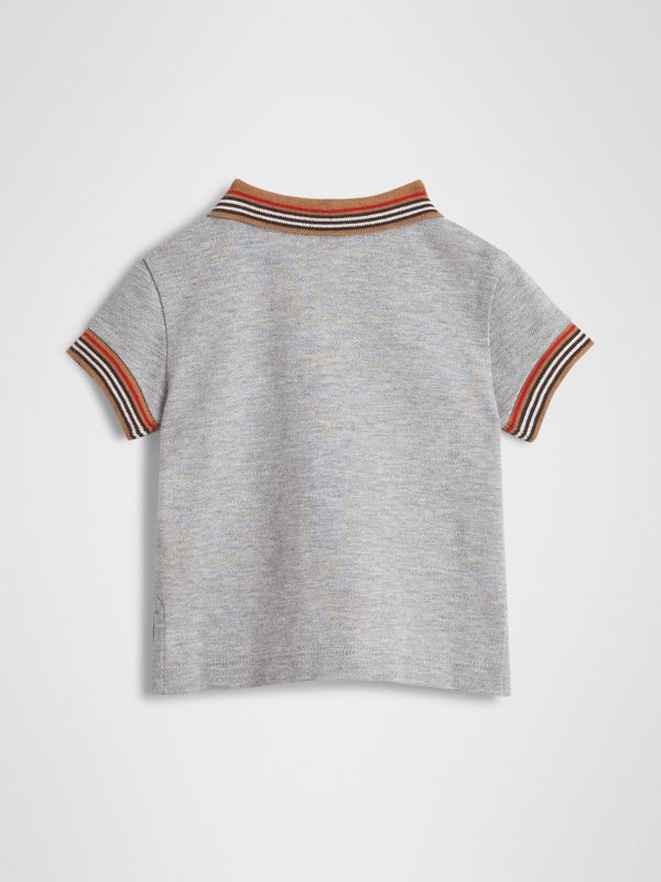 Icon Stripe Detail Cotton Polo Shirt in Grey Melange - Children | Burberry - cell image 3