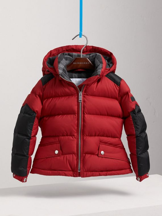 Detachable Hood Two-tone Puffer Coat in Parade Red - Girl | Burberry Canada - cell image 2