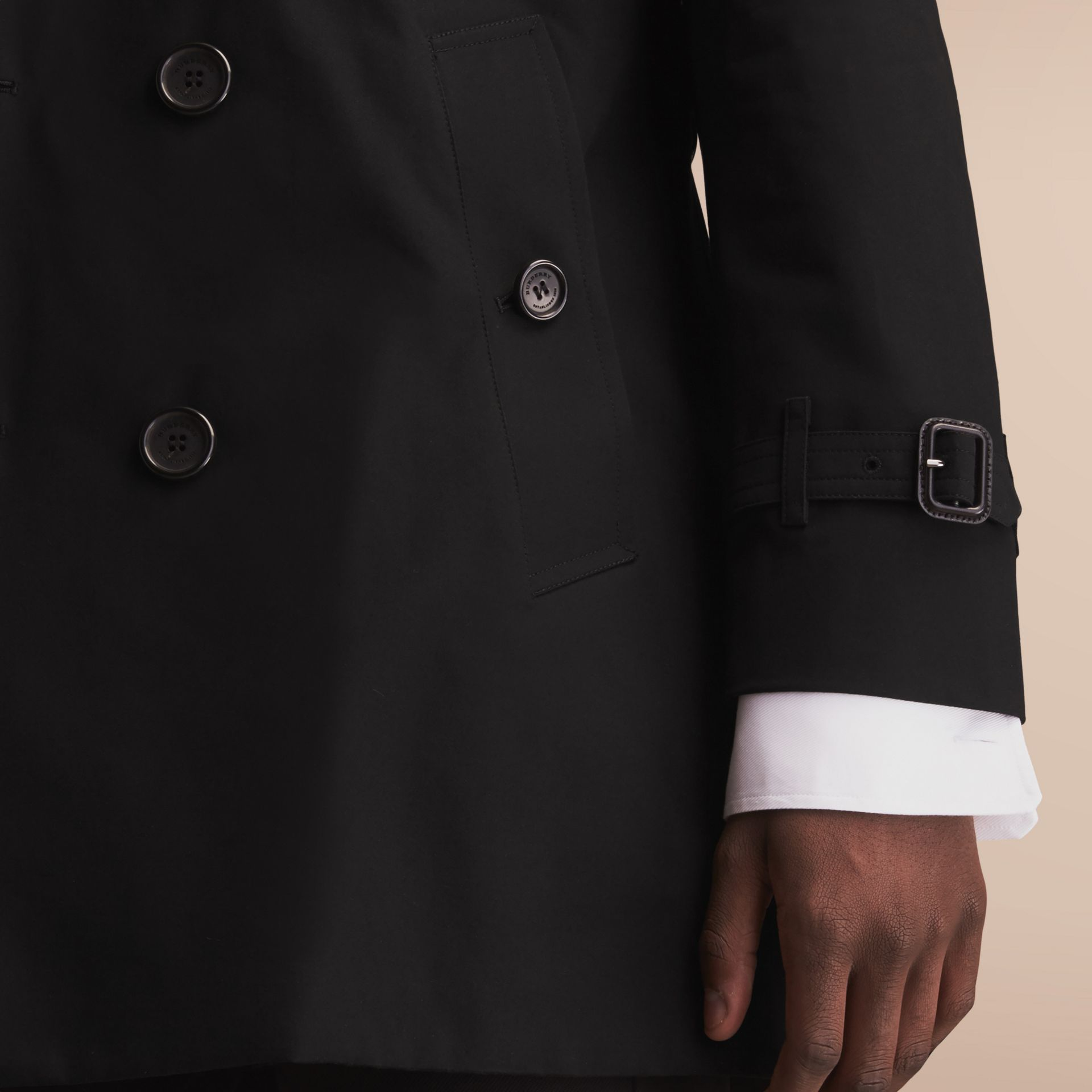 The Sandringham – Mid-length Heritage Trench Coat Black - gallery image 7