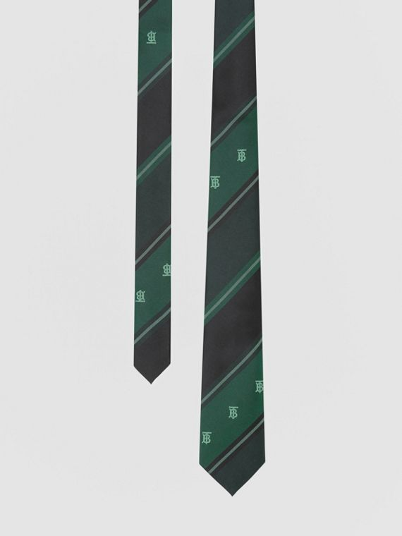 Classic Cut Monogram Motif Striped Silk Jacquard Tie in Forest Green