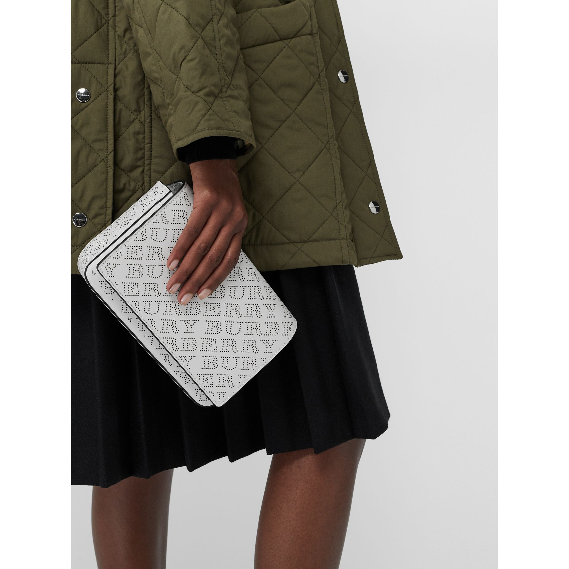 Perforated Logo Leather Wallet with Detachable Strap in White - Women | Burberry Singapore - gallery image 3