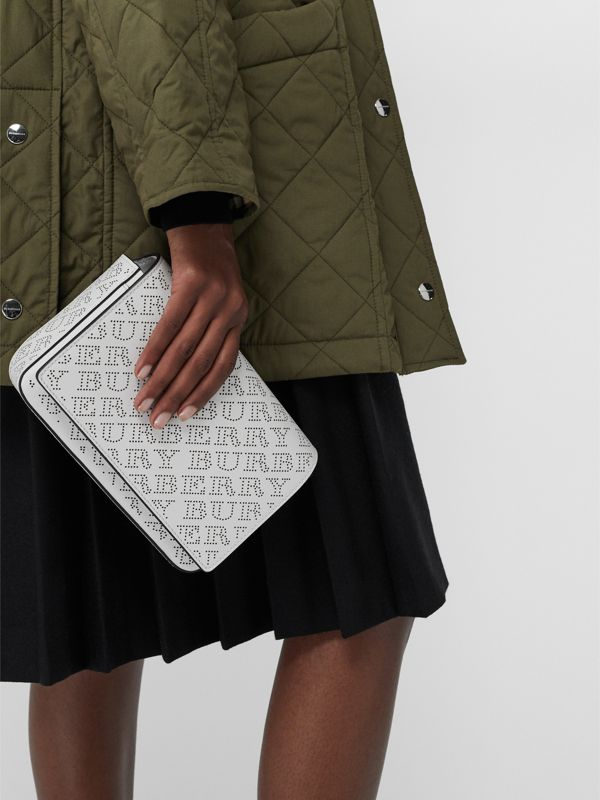 Perforated Logo Leather Wallet with Detachable Strap in White - Women | Burberry Australia - cell image 3