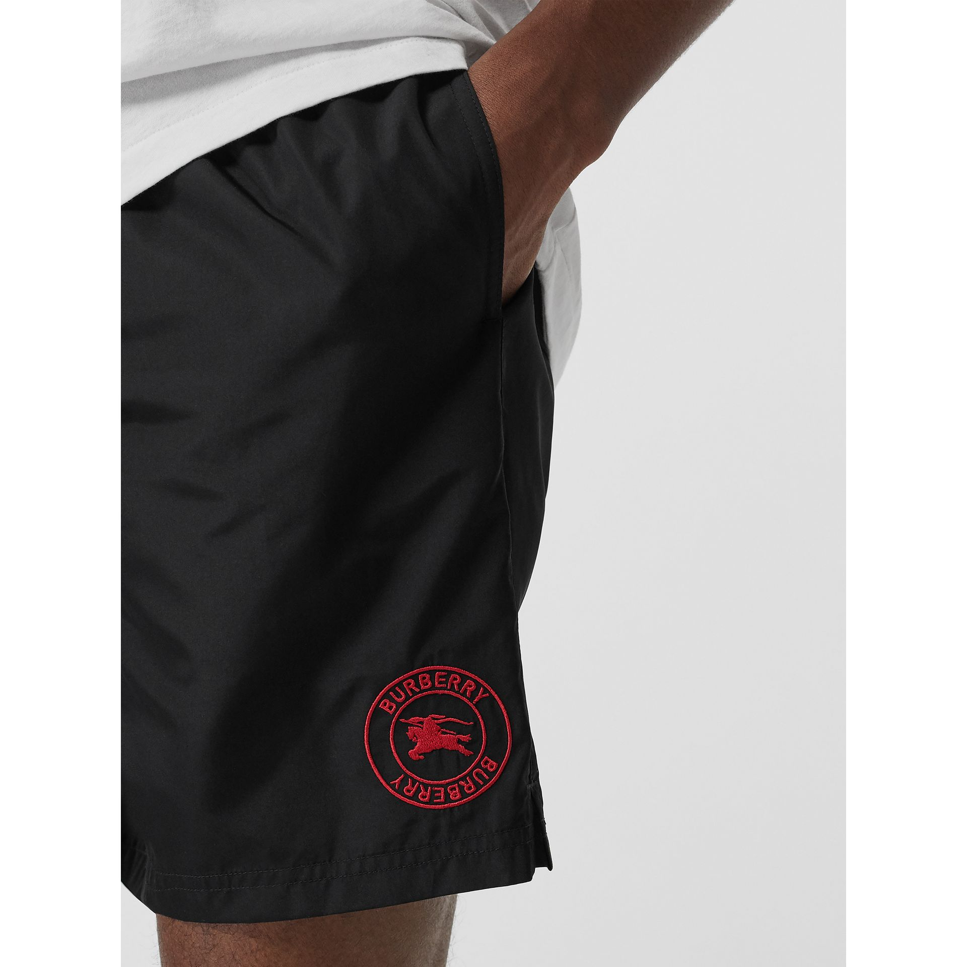 Embroidered Logo Drawcord Swim Shorts in Black - Men | Burberry - gallery image 1