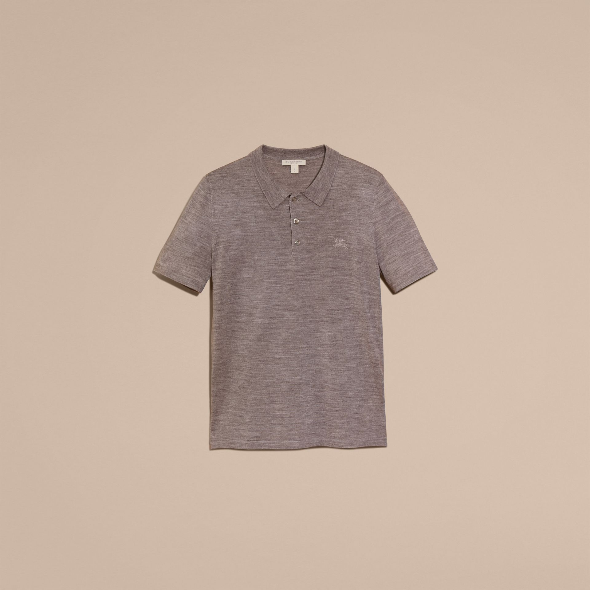 Pale grey melange Check Placket Wool and Silk Blend Polo Shirt Pale Grey Melange - gallery image 4