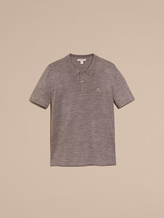 Pale grey melange Check Placket Wool and Silk Blend Polo Shirt Pale Grey Melange - cell image 3