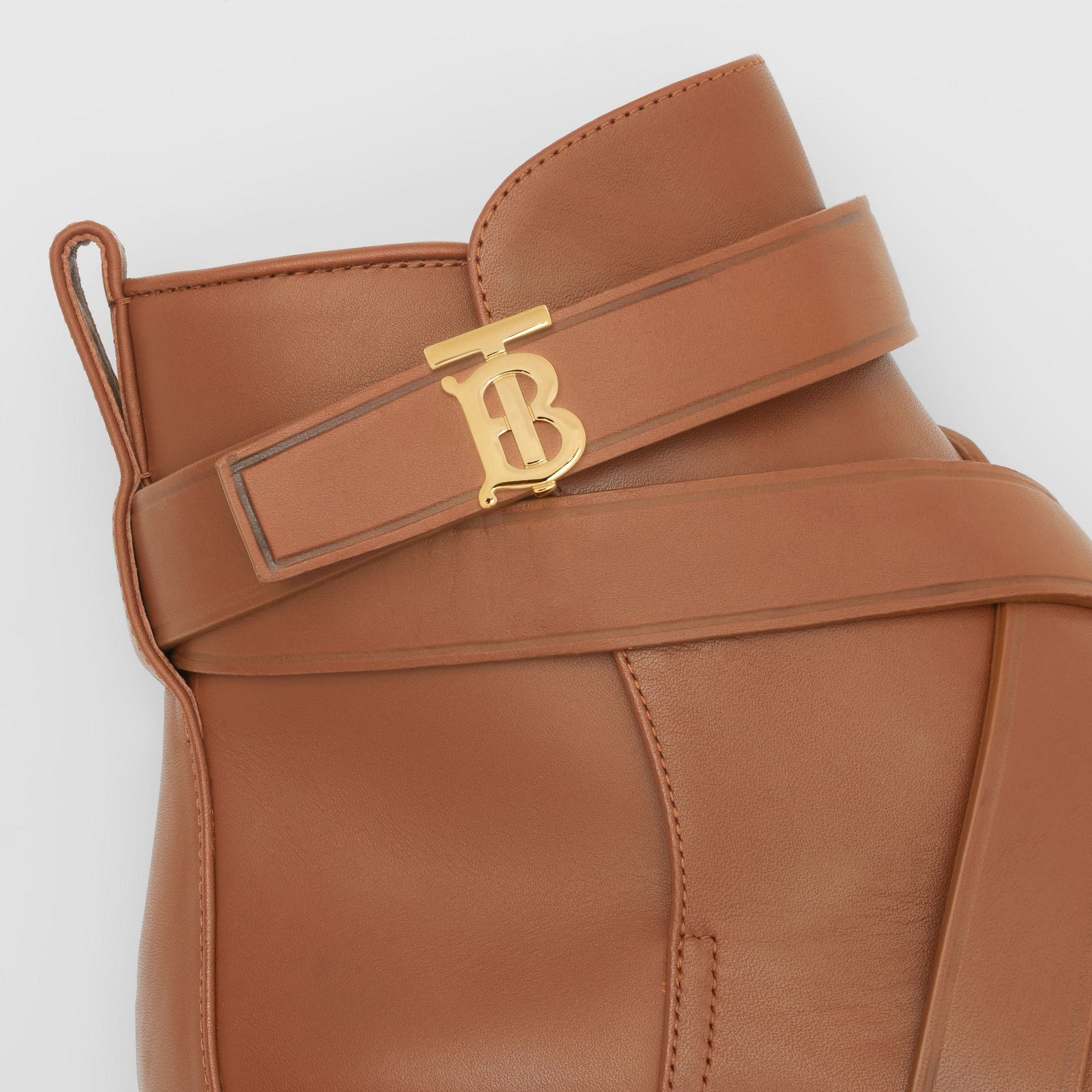 Monogram Motif Leather Ankle Boots in Tan - Women | Burberry Canada - gallery image 1