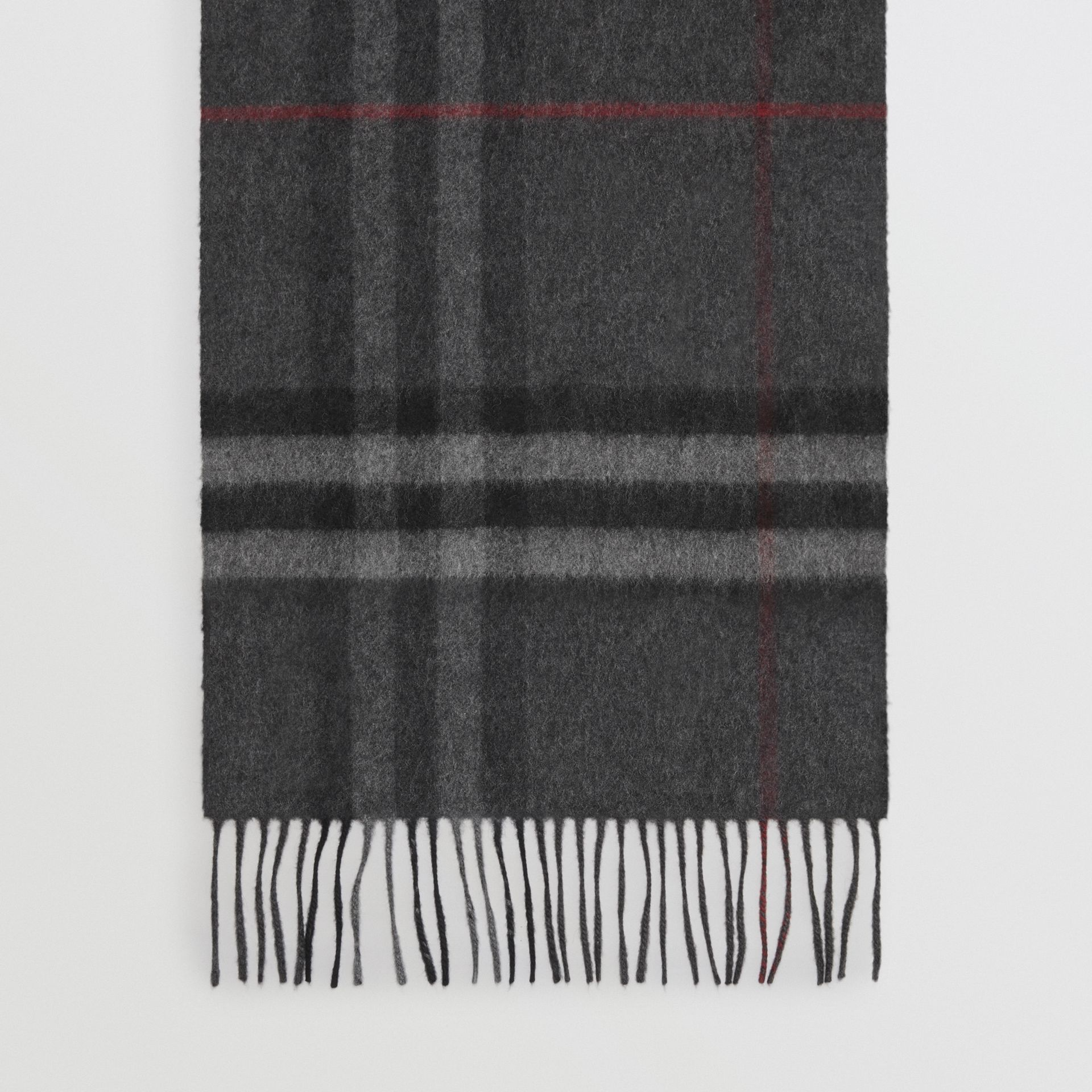 The Classic Check Cashmere Scarf in Charcoal | Burberry Australia - gallery image 4