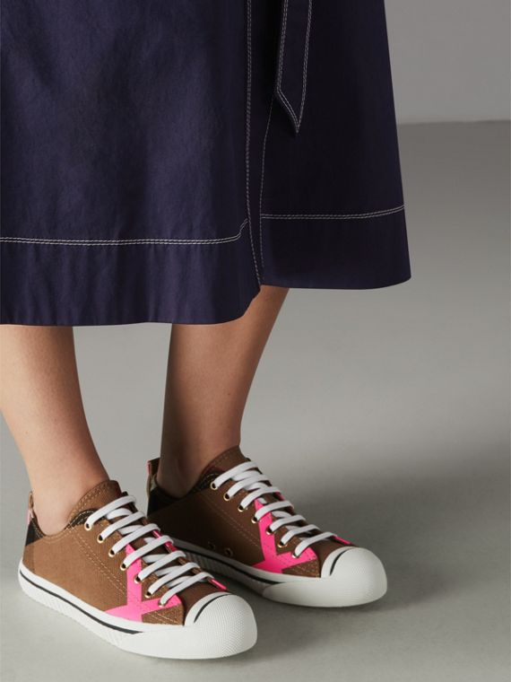 Canvas Check and Leather Sneakers in Classic/neon Pink - Women | Burberry Singapore - cell image 2
