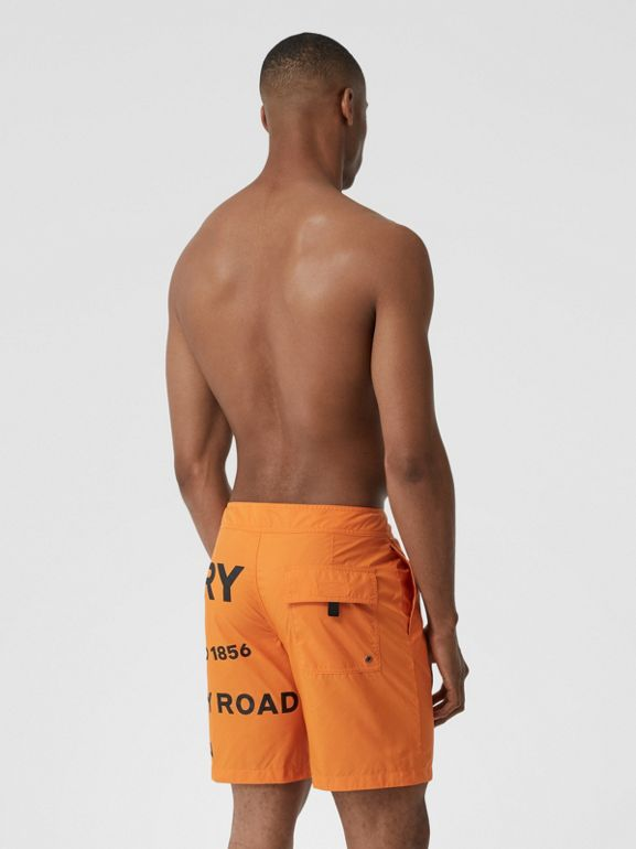 Horseferry Print Swim Shorts in Bright Orange - Men | Burberry - cell image 1