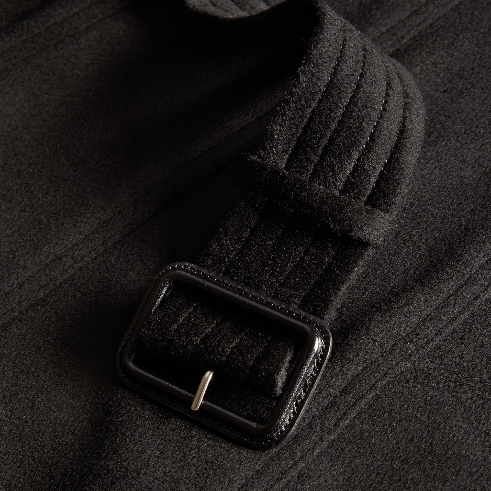 Black Sandringham Fit Cashmere Trench Coat Black - gallery image 2