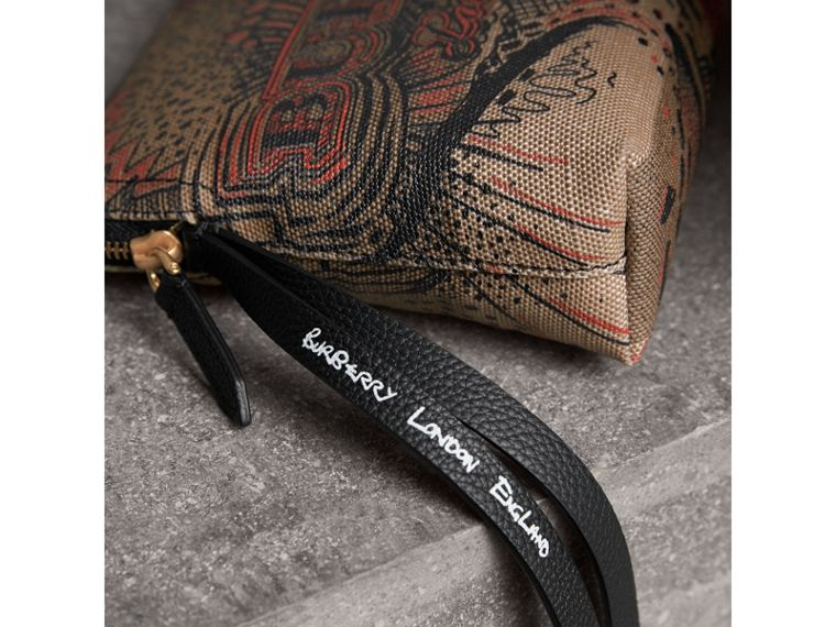 Large Doodle Print Coated Check Canvas Pouch in Classic Check/black - Women | Burberry - cell image 1