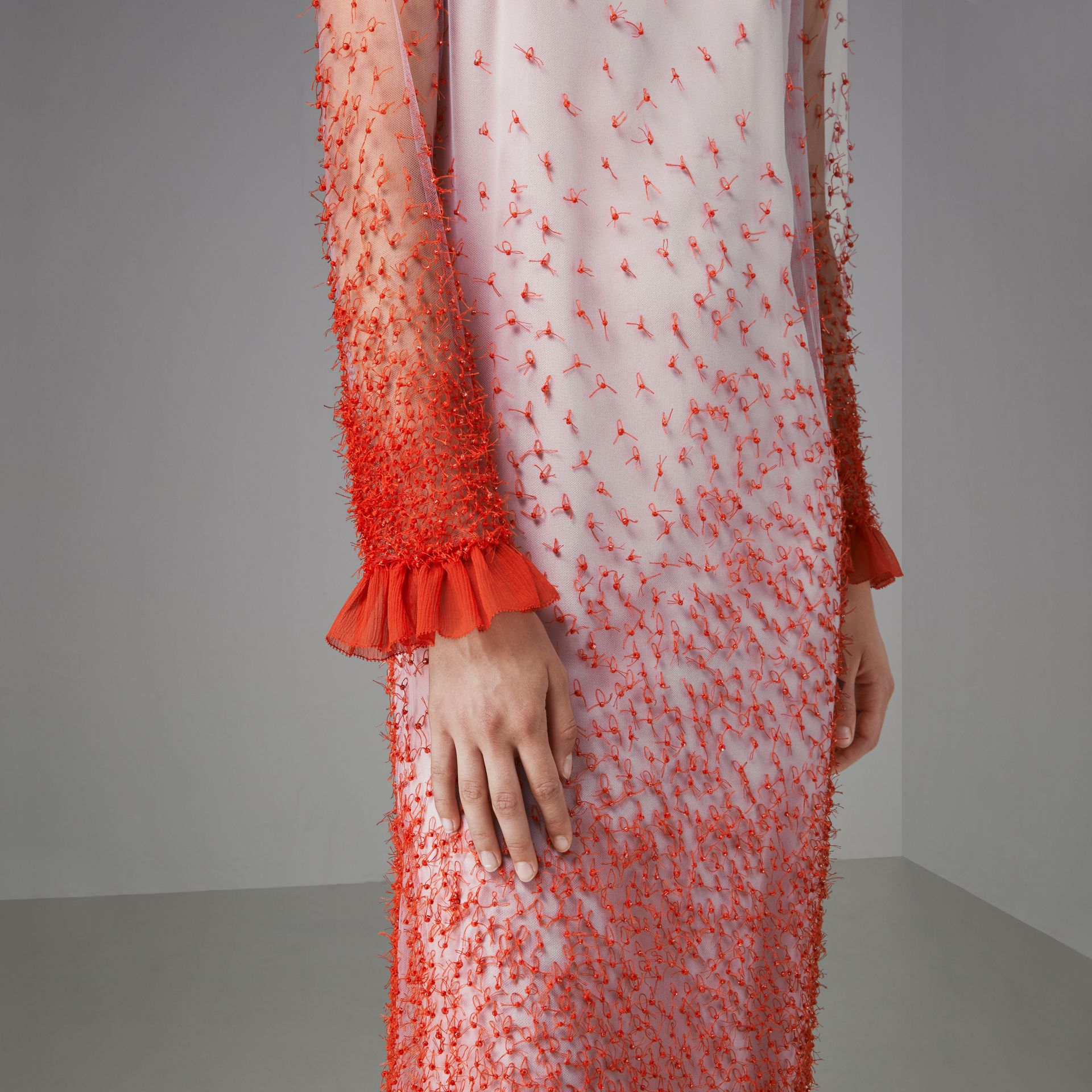 Dégradé Hand-beaded Crepon Dress in Coral - Women | Burberry Singapore - gallery image 4