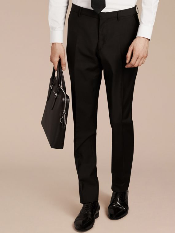 Modern Fit Wool Mohair Trousers in Black - cell image 3