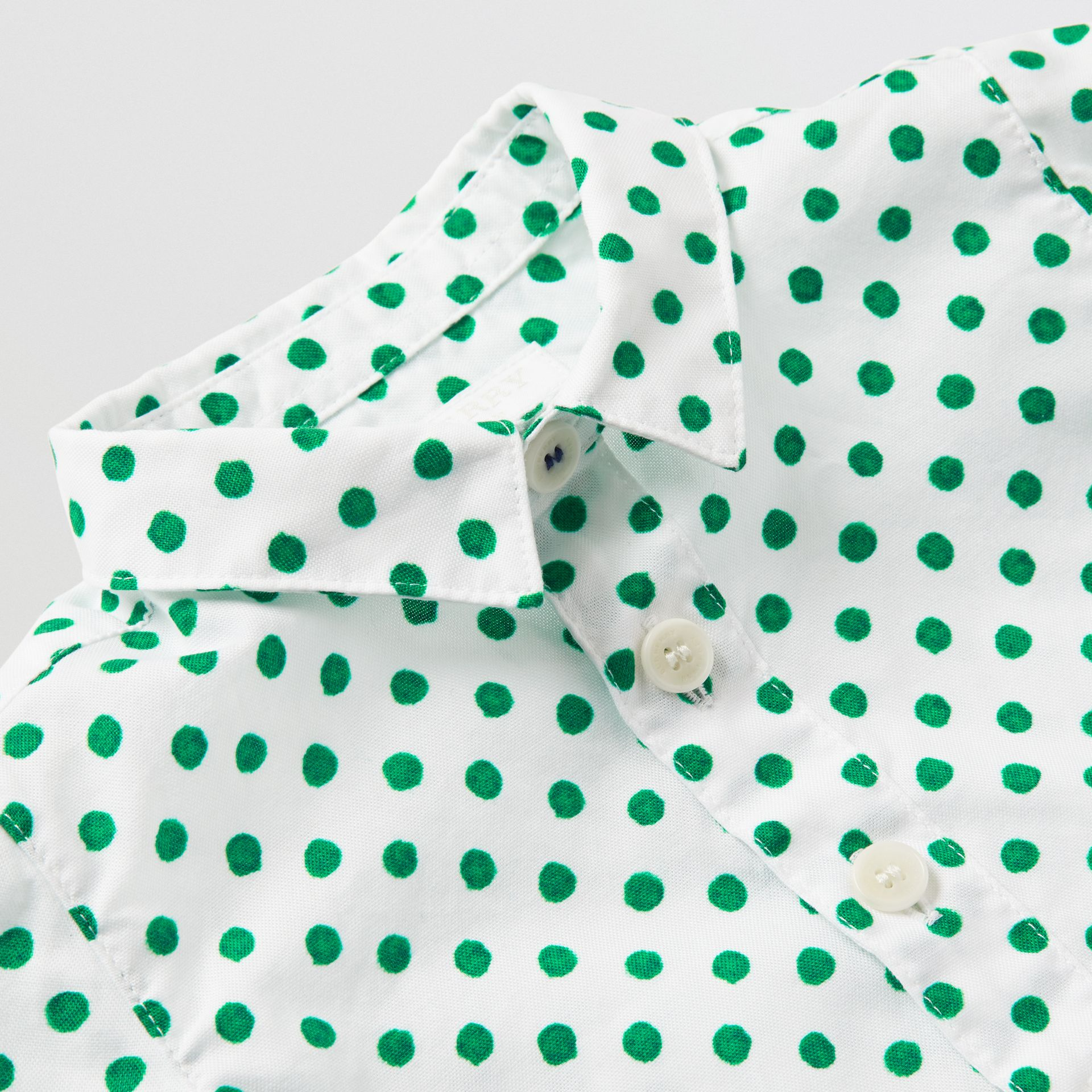 Polka Dot Cotton Oxford Shirt in Emerald Green - Children | Burberry - gallery image 1