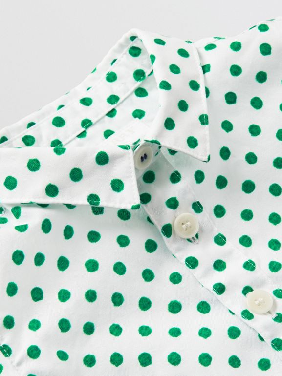 Polka Dot Cotton Oxford Shirt in Emerald Green - Children | Burberry - cell image 1