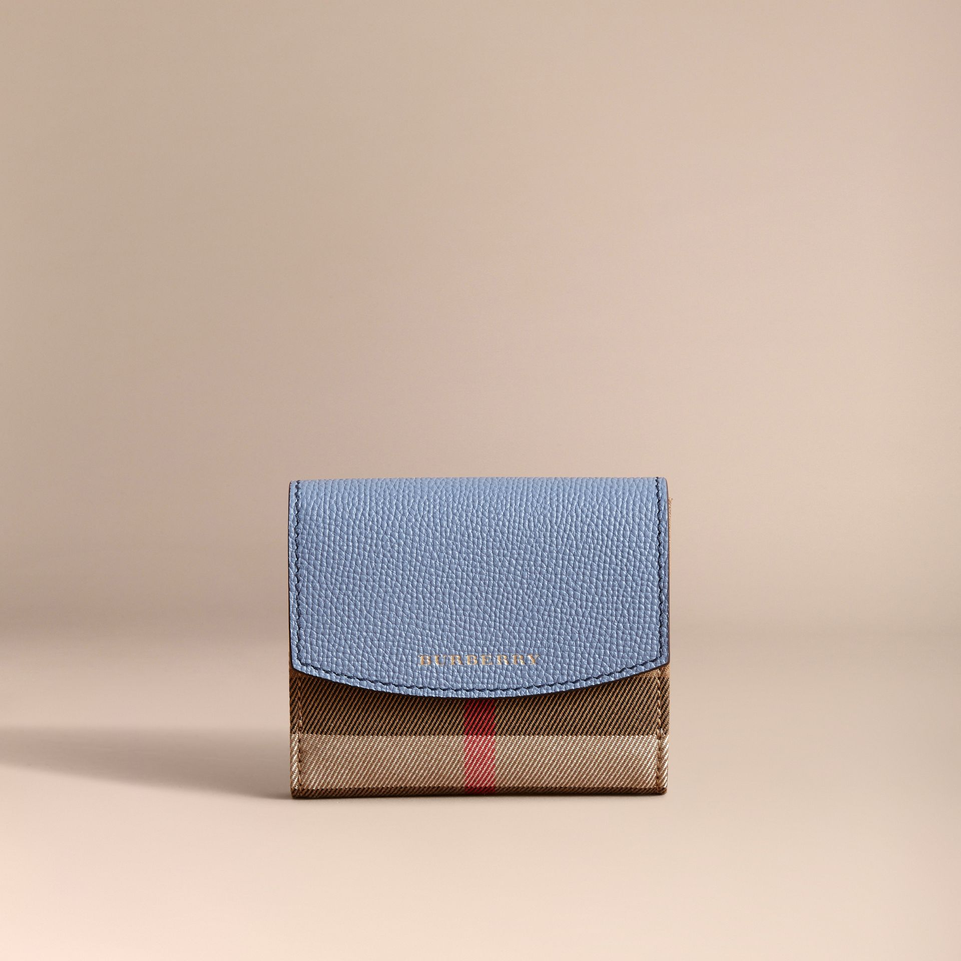 House Check and Leather Wallet in Slate Blue - Women | Burberry - gallery image 6