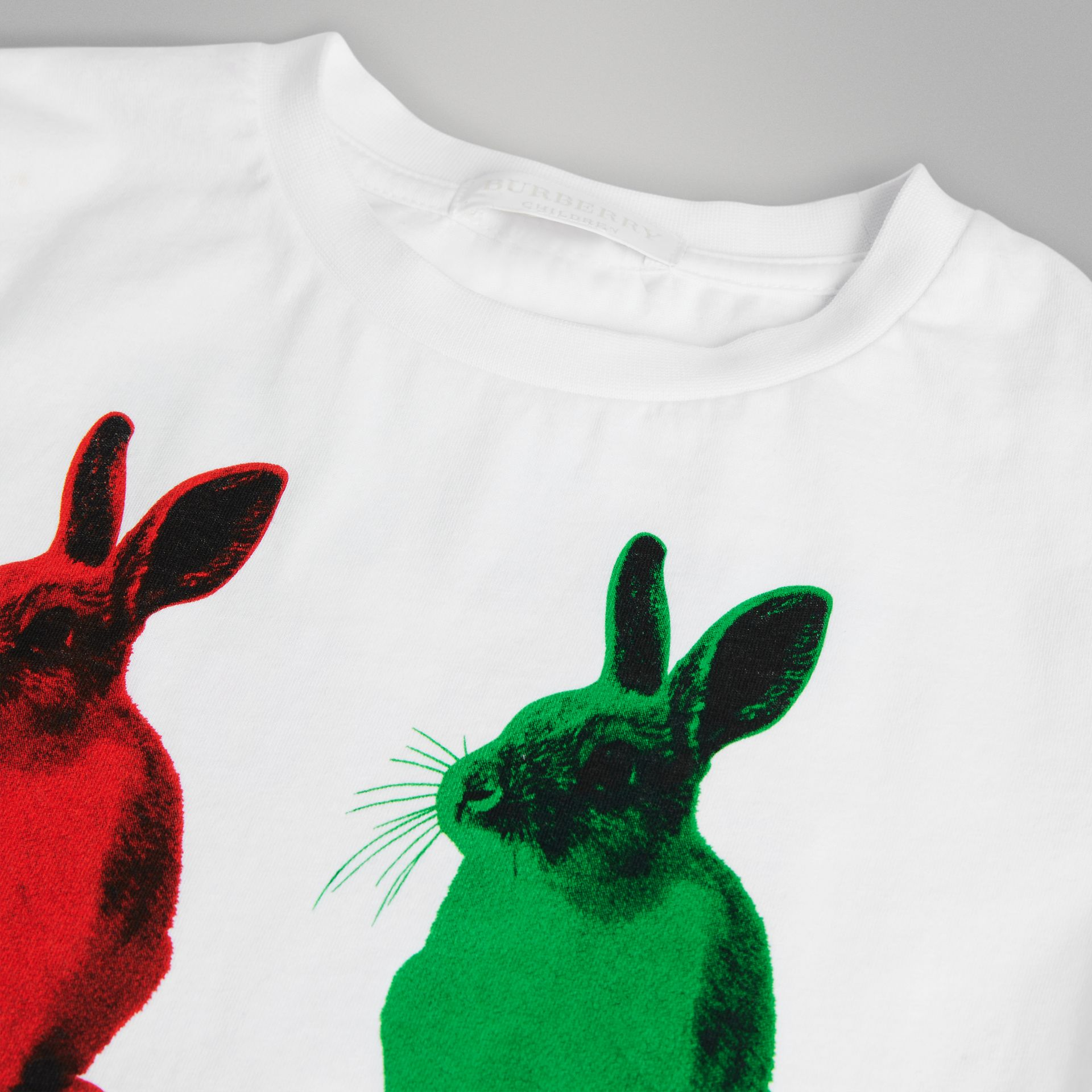 Rabbit Print Cotton T-shirt in White | Burberry - gallery image 1