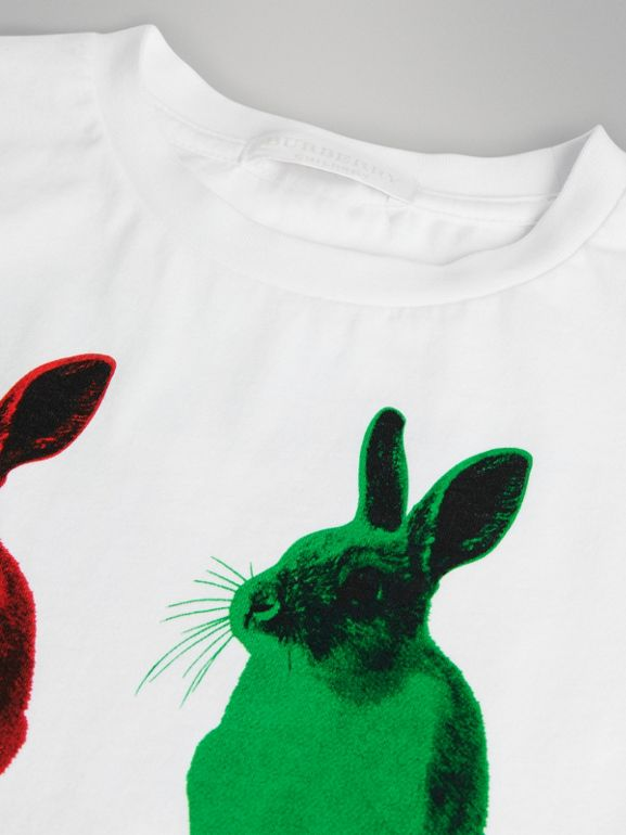 Rabbit Print Cotton T-shirt in White | Burberry - cell image 1