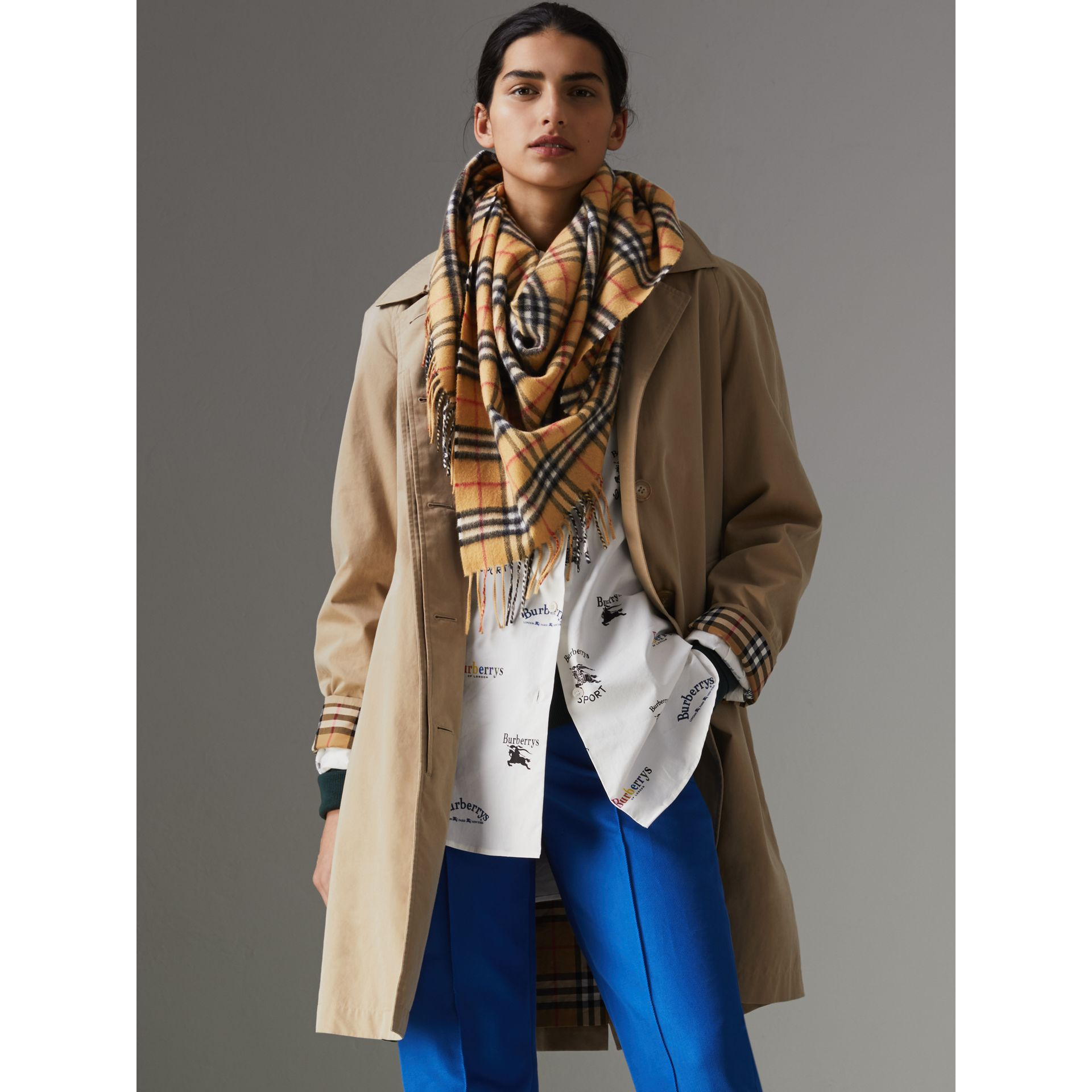 The Burberry Bandana in Vintage Check Cashmere in Antique Yellow | Burberry Australia - gallery image 2