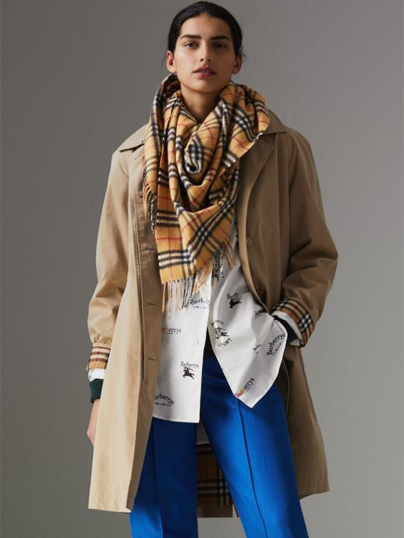 The Burberry Bandana in Vintage Check Cashmere in Antique Yellow | Burberry United Kingdom - cell image 2