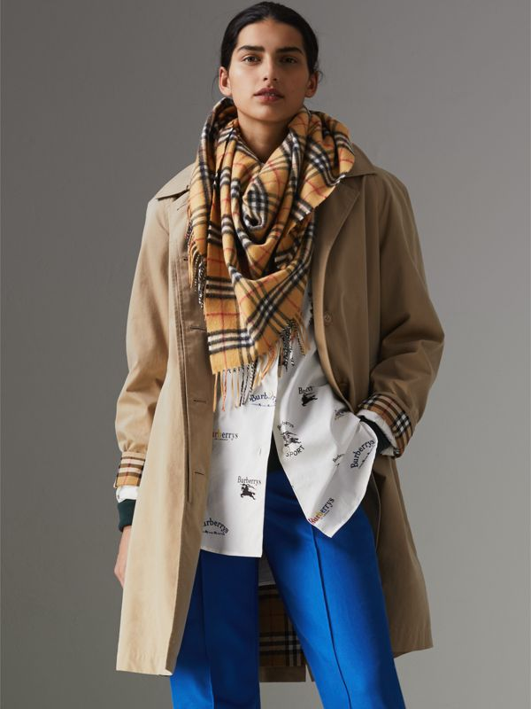 The Burberry Bandana in Vintage Check Cashmere in Antique Yellow | Burberry Australia - cell image 2