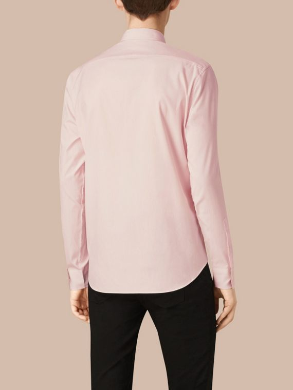 Check Detail Stretch Cotton Poplin Shirt Pale Pink - cell image 2