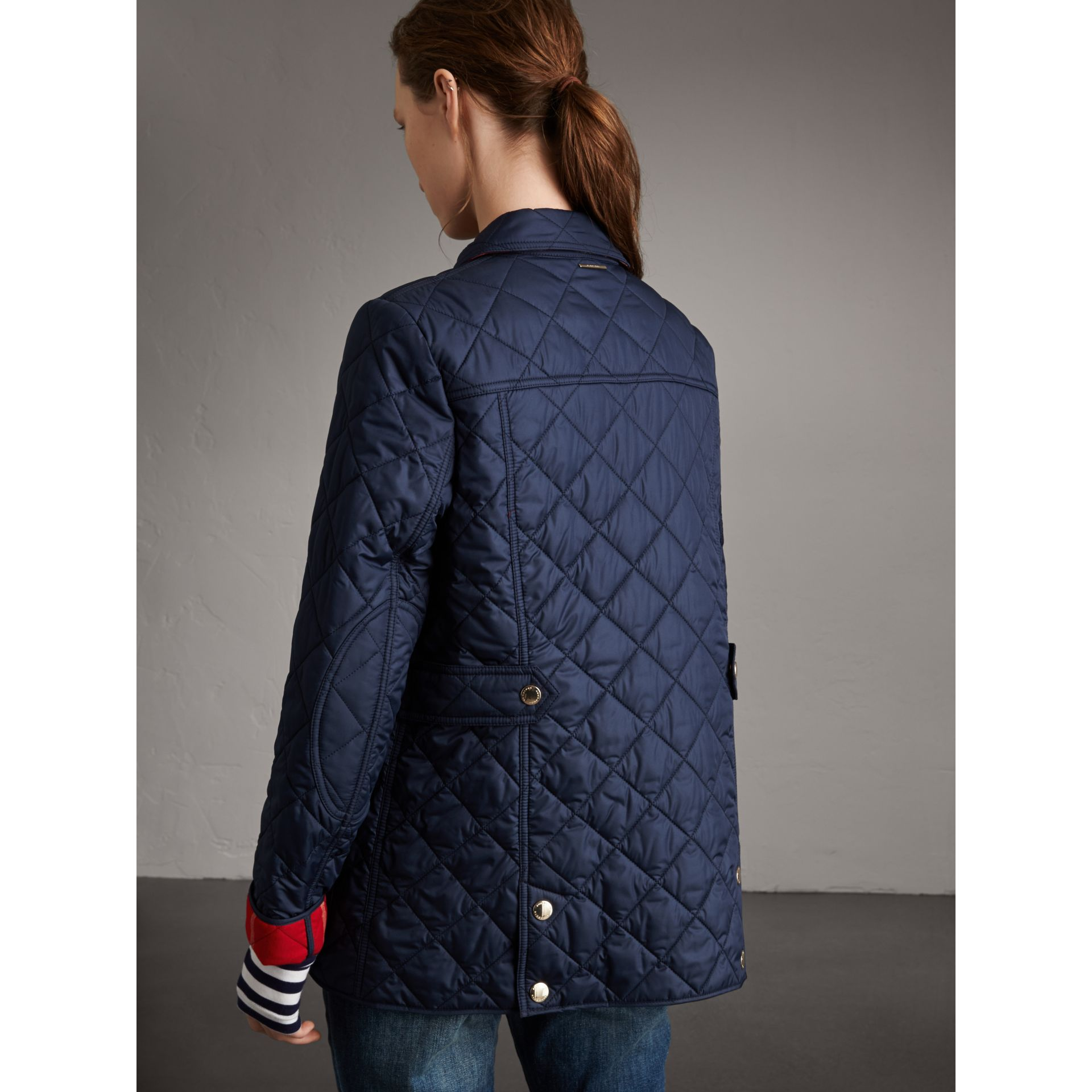 Check Detail Diamond Quilted Jacket in Navy - Women | Burberry - gallery image 2