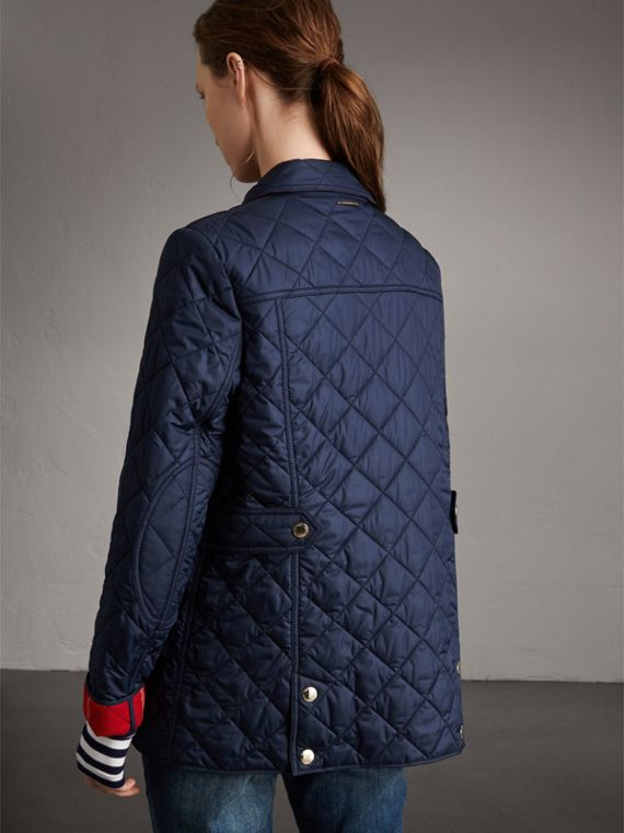 Check Detail Diamond Quilted Jacket in Navy - Women | Burberry - cell image 2