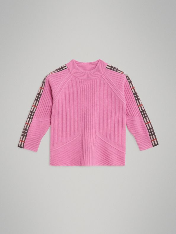 Check Detail Wool Cashmere Sweater in Rose Pink