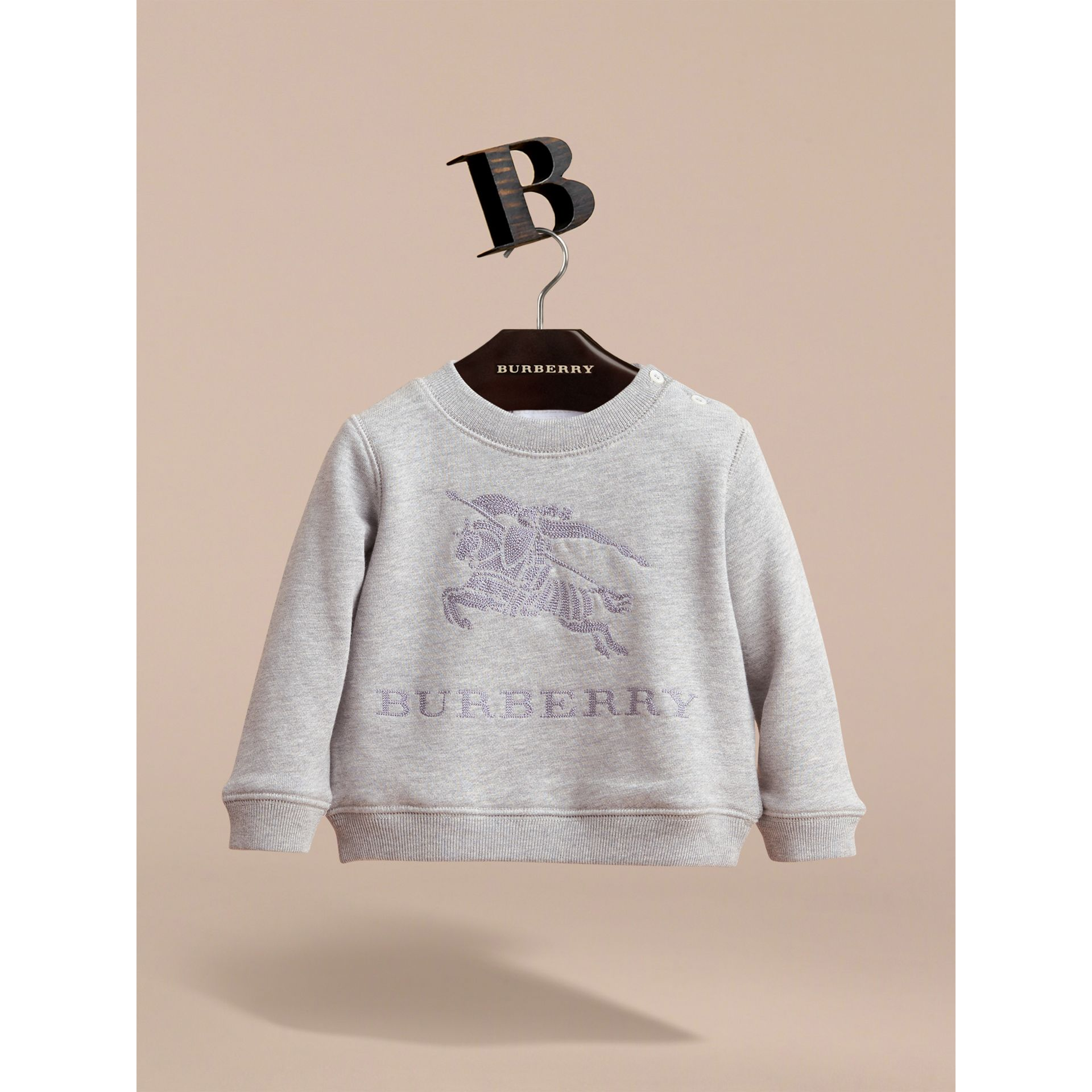 Embroidered Cotton Jersey Sweatshirt in Grey Melange - Children | Burberry Hong Kong - gallery image 2