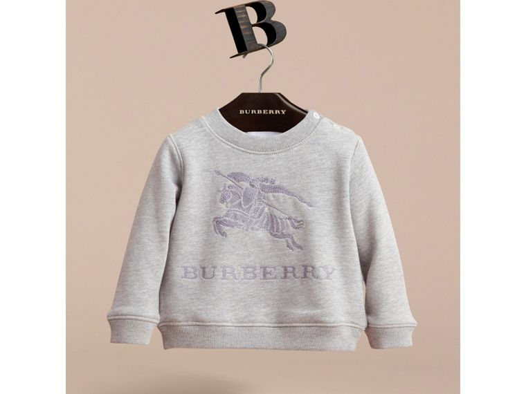 Embroidered Cotton Jersey Sweatshirt in Grey Melange - Children | Burberry - cell image 1