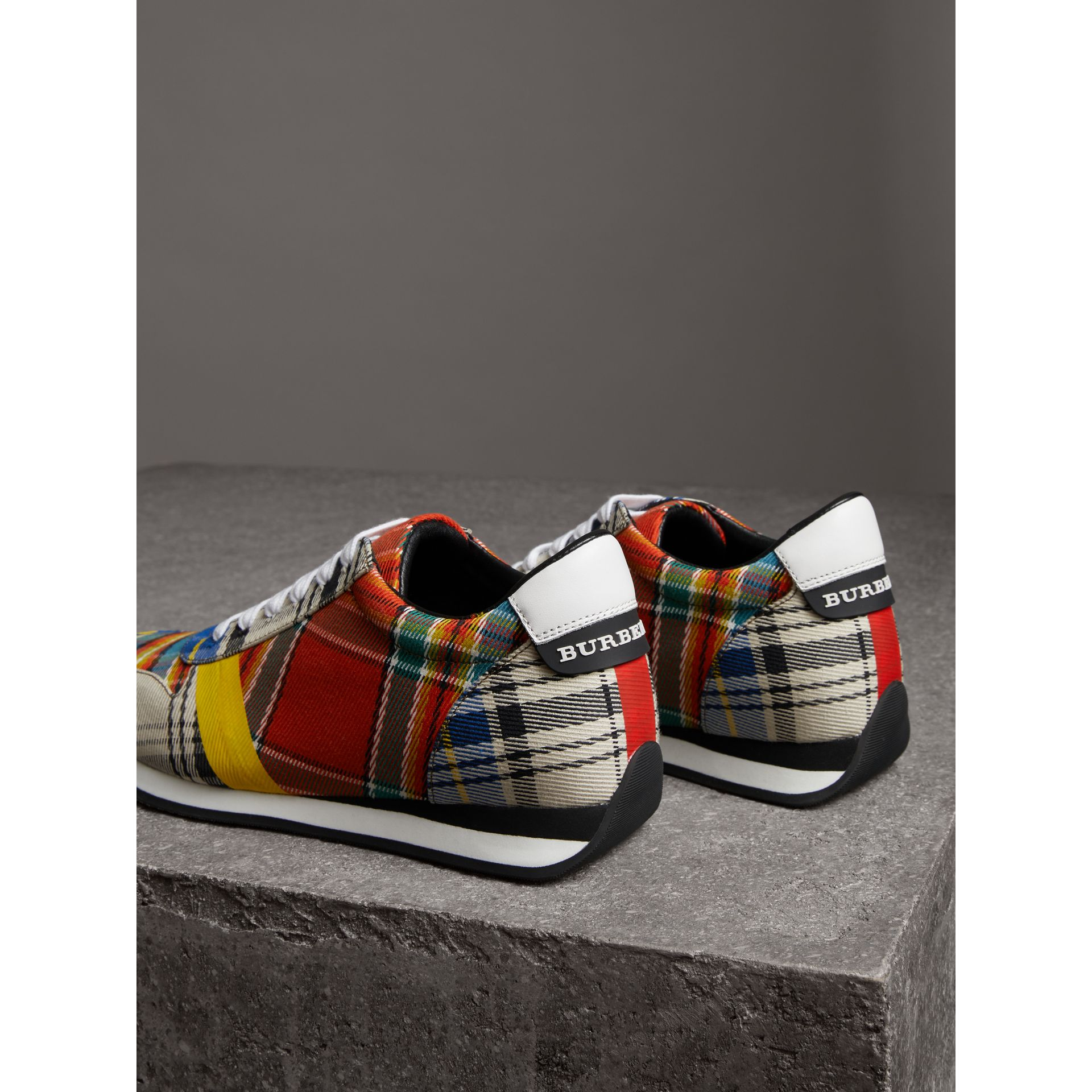 Tartan Cotton Sneakers in Chalk White - Women | Burberry Australia - gallery image 3