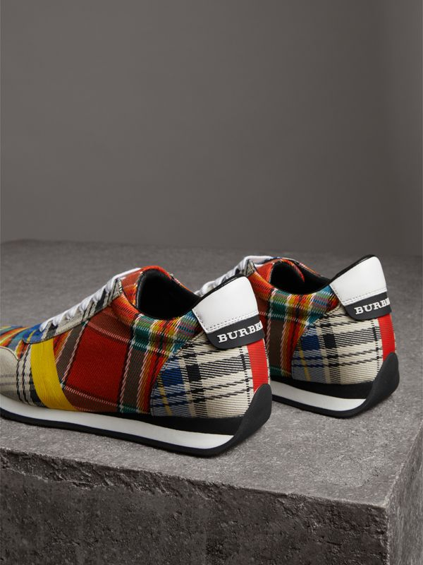 Tartan Cotton Sneakers in Chalk White - Women | Burberry Australia - cell image 3