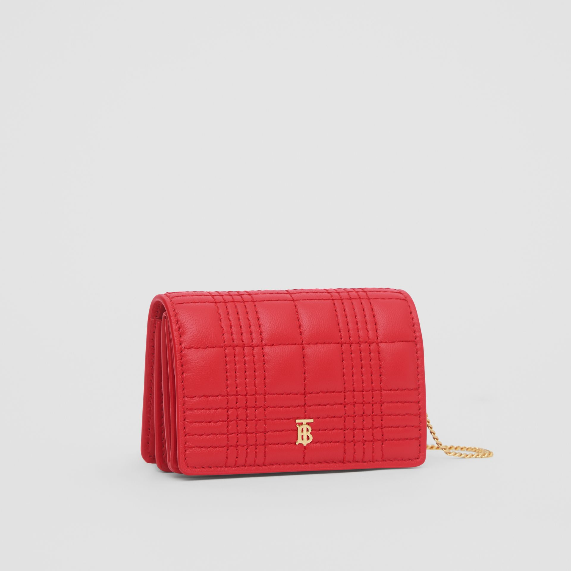 Porte-cartes en cuir d'agneau matelassé avec sangle amovible (Rouge Vif) | Burberry Canada - photo de la galerie 8