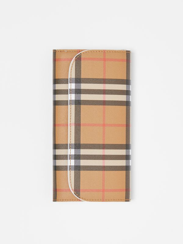 Vintage Check and Leather Continental Wallet in Chalk White - Women | Burberry Australia - cell image 3