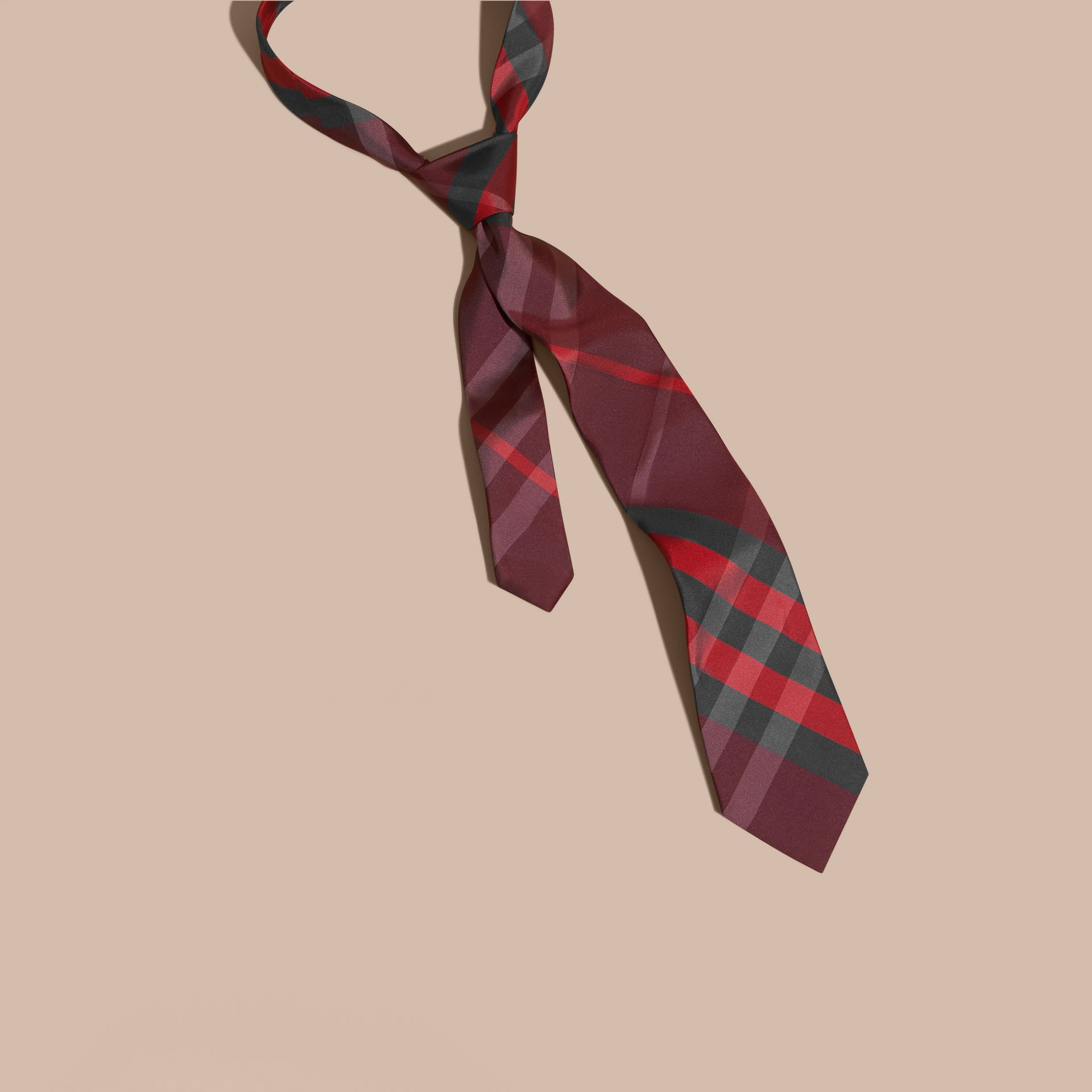 Burgundy red Classic Cut Check Silk Tie Burgundy Red - gallery image 1