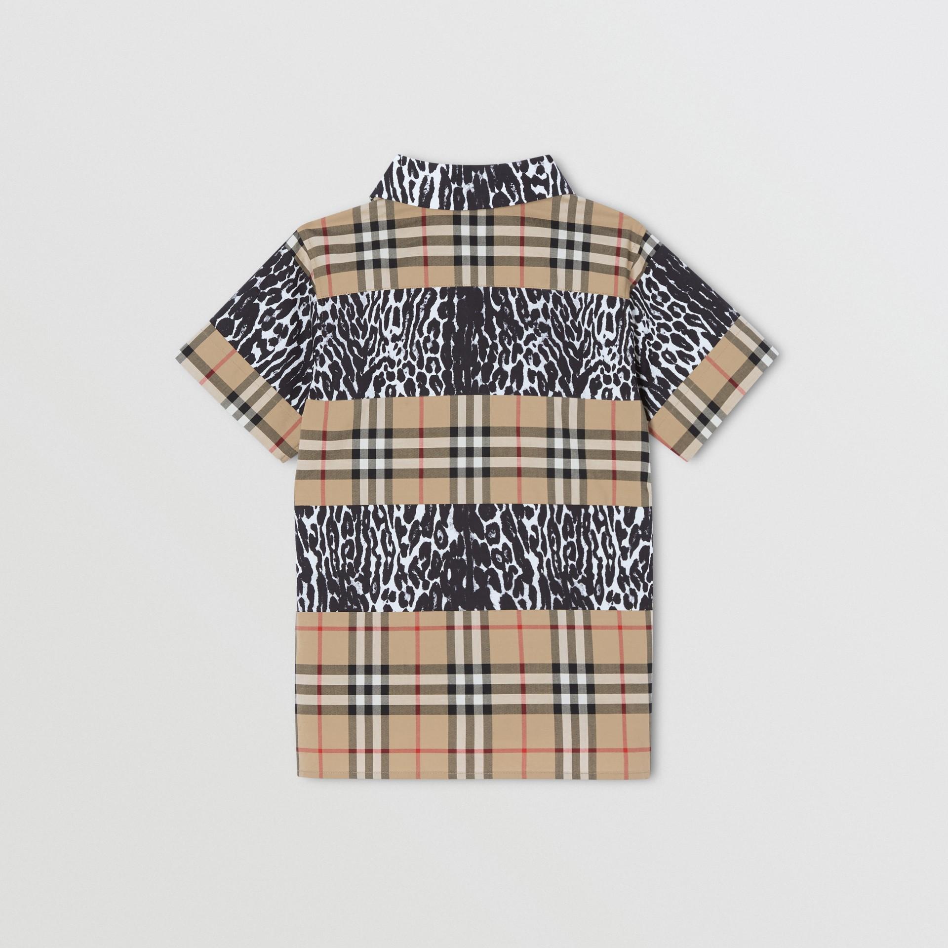 Camicia a maniche corte con motivo Vintage check e stampa leopardata (Beige Archivio) | Burberry - immagine della galleria 3